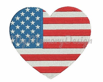 Embroidery for 4th july - Flag embroidery design - American flag embroidery - Heart design - Independence embroidery - Patriotic  embroidery