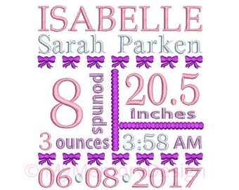 Birth announcement embroidery design - Birth template machine embroidery Baby girl design - INSTANT DOWNLOAD 4x4 5x7 6x10 sizes