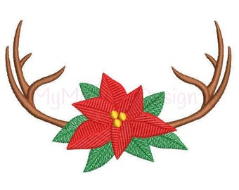 Christmas Design - Christmas poinsettia with antler embroidery design - Machine embroidery pattern - INSTANT DOWNLOAD 3 sizes 4x4 5x7 6x10