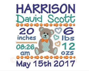 Bear Birth Announcement Embroidery Design - Baby Boy Subway Art Machine Embroidery  File - EMAIL DELIVERY 0-48 hour - NOT instant downlaod