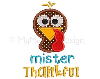 Mister Thankful Embroidery Design - Thanksgiving applique design - Boy design - Machine embroidery design - INSTANT DOWNLOAD  5x7 6x10 sizes