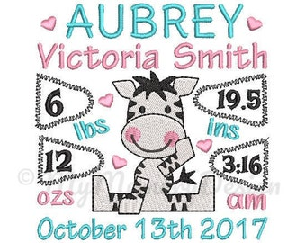 Zebra Personalized Birth Announcement Machine Embroidery Digital File Design - EMAIL DELIVERY 0-48 hour - NOT instant download