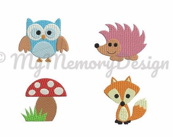 Animal embroidery - Owl embroidery - Fox embroidery - Hedgedog - Mushroom  - Forest animals - Machine embroidery design - INSTANT DOWNLOAD