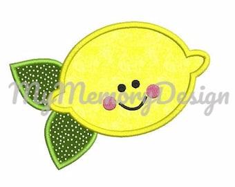 Lemon Embroidery design - Lemon applique design - Summer embroidery - Kids embroidery - Girl embroidery - Cute design - INSTANT DOWNLOAD