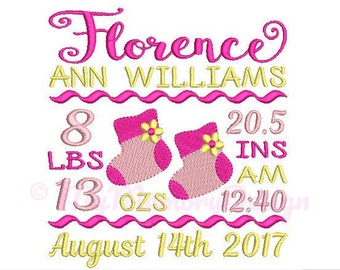 Baby shoes birth announcement embroidery design - Birth template machine embroidery baby design - INSTANT DOWNLOAD 4x4 5x7 6x10 sizes