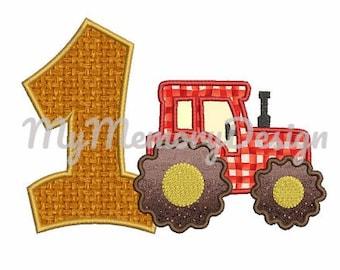 1st birthday applique design - Birthday embroidery design - Tractor embroidery - Machine embroidery - INSTANT DOWNLOAD - 4x4 5x7 6x10