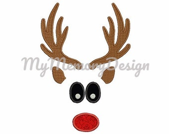 Boy reindeer embroidery design - Santa embroidery design - Christmas applique - Machine embroidery design - 4x4 5x7 6x10 - INSTANT DOWNLOAD