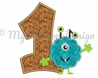 Birthday embroidery design - 1st birthday embroidery - Monster embroidery - Machine embroidery pattern - INSTANT DOWNLOAD - 4x4 5x7 5x10