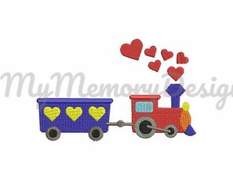 Train embroidery design - Embroidery for boys - Fill stitch embroidery - Vehicle design - Small embroidery - INSTANT DOWNLOAD