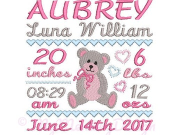 Birth announcement embroidery design, Baby girl embroidery, Bear embroidery design, Birth template embroidery- INSTANT DOWNLOAD, 3 sizes