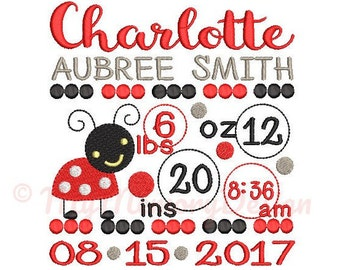 Ladybug Birth announcement embroidery design - Birth template machine embroidery baby design - INSTANT DOWNLOAD 4x4 5x7 6x10 sizes