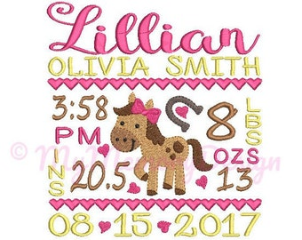 Horse birth announcement embroidery design - Birth template machine embroidery pattern Birth stats - INSTANT DOWNLOAD 4x4 5x7 6x10 sizes