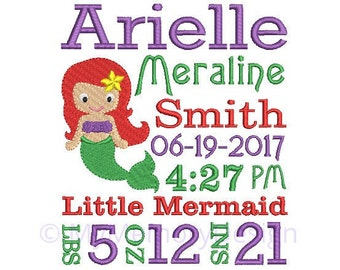 Mermaid embroidery design, Birth announcement embroidery design, Baby embroidery, Newborn embroidery,  INSTANT DOWNLOAD, 4x4 5x7 6x10 sizes