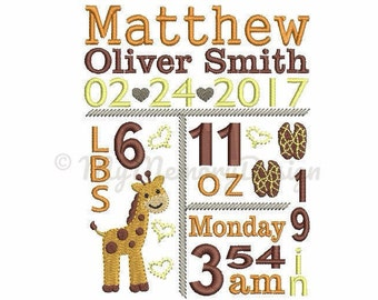 Custom Digitizing Birth Announcement Embroidery Pattern - Giraffe Birth stats embroidery - EMAIL DELIVERY 0-48 hour - NOT instant download