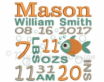 Custom Embroidery Birth Announcement Fish Machine Embroidery Digital File Design - EMAIL DELIVERY 0-48 hour - NOT instant downlaod