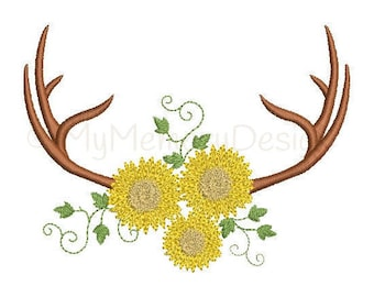 Antler embroidery design - Fall embroidery - Deer Antlers design - Machine embroidery digital file - INSTANT DOWNLOAD - 3 size 4x4 5x7 6x10