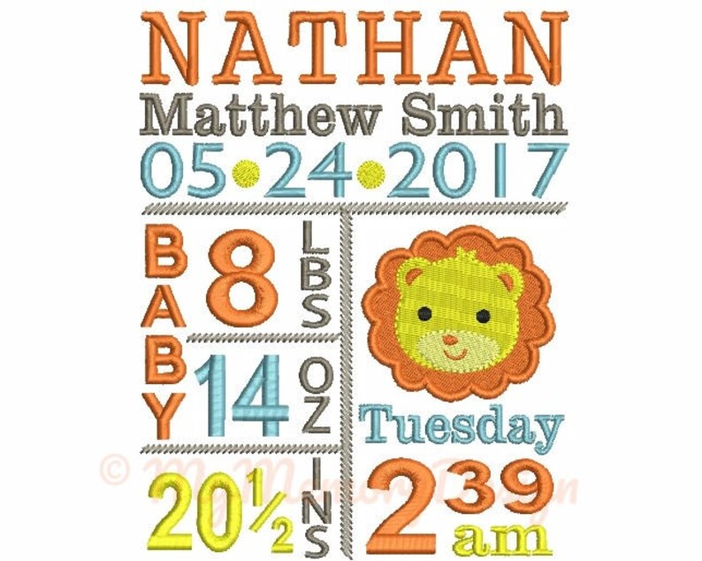 Lion Birth Announcement Embroidery Design - Custom embroidery - Lion  Embroidery - EMAIL DELIVERY 0-48 hour - NOT instant download