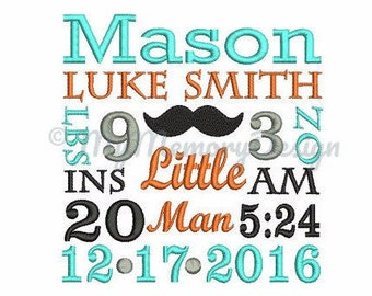 Newborn Custom Personalized Birth Announcement Subway Art Machine Embroidery Design - EMAIL DELIVERY 0-48 hour - NOT instant downlaod