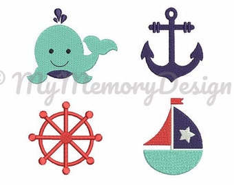 Nautical embroidery design fill stitch mini embroidery set - Sailor embroidery- Baby embroidery - Machine embroidery -INSTANT DOWNLOAD