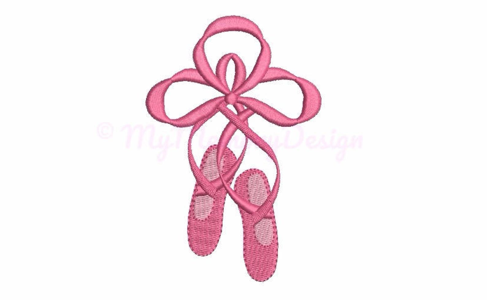 ballet shoes embroidery design - mini embroidery - machine embroidery - digital file - instant download - pes hus jef vip vp3 xx