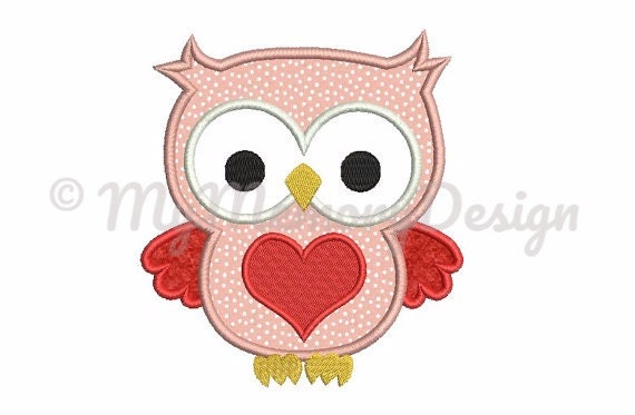 Owl with heart embroidery design owl applique valentine