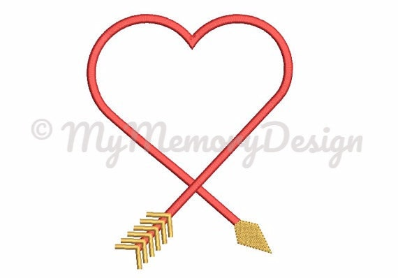 Arrow Heart Frame Embroidery Design Valentine S Day Etsy