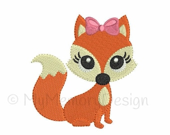 Cute Fox  Machine Embroidery Design - Baby Girl Fill Stitch Embroidery - INSTANT DOWNLOAD - pes hus jef vip vp3 xxx dst exp - 6 sizes