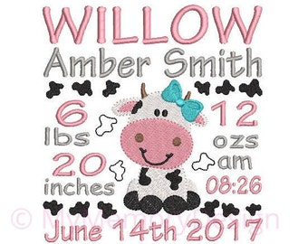 Girl Cow announcement embroidery design - Birth template machine embroidery baby design - INSTANT DOWNLOAD 4x4 5x7 6x10 sizes