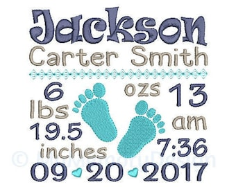 Birth Announcement Template Embroidery Design - Baby feet Embroidery - Birth Stats - INSTANT DOWNLOAD - Machine embroidery design - 3 size