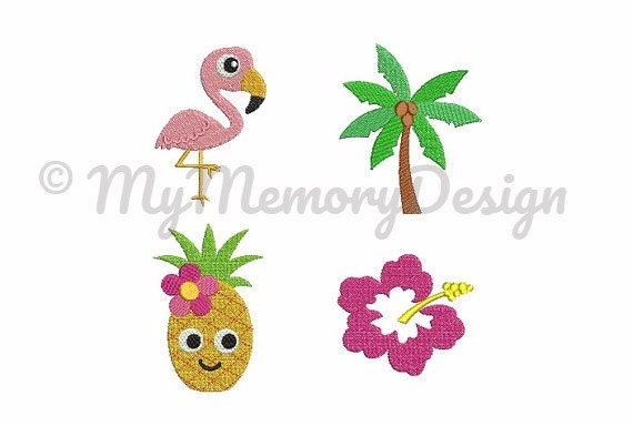 Summer Embroidery Design Set Of 4 Tropical Embroidery Hawaii