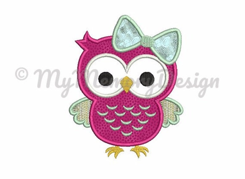Owl applique design - Owl embroidery design - Girl embroidery design - Bird  applique design Machine embroidery INSTANT DOWNLOAD 4x4 5x7 6x10
