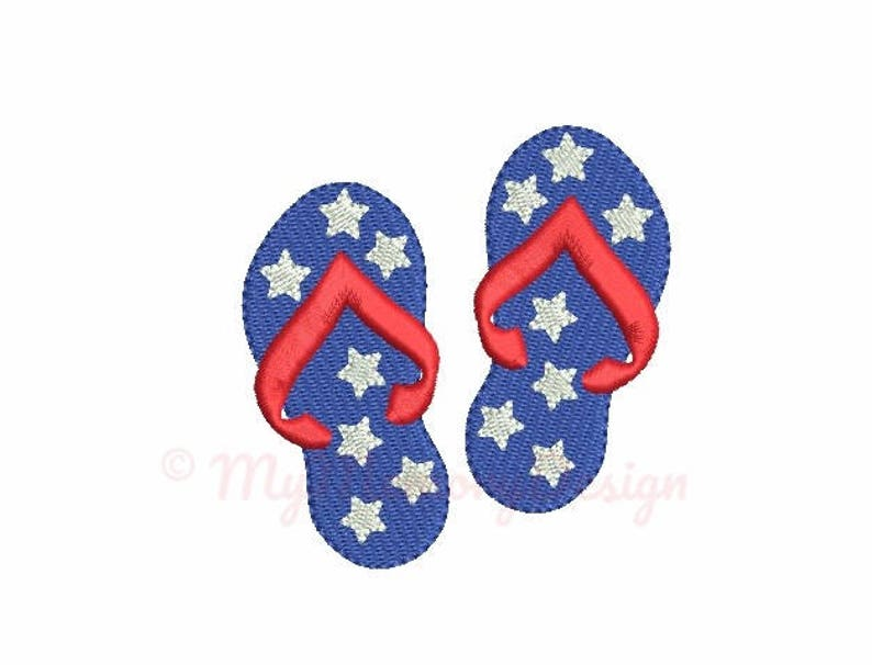 a127c365a2a Summer embroidery design Flip flops embroidery Patriotic