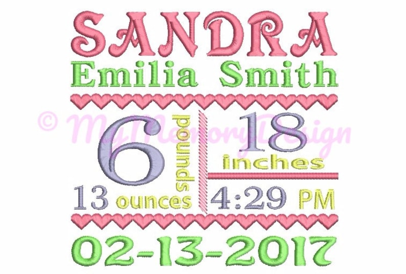 Birth Announcement Template Embroidery Design  Baby Birth image 0