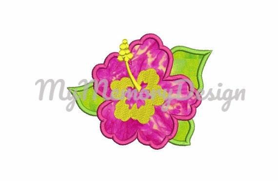 Summer flower applique girl summer applique hawaii flower
