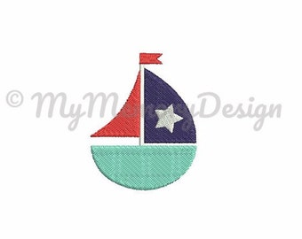 Boat embroidery design - Fill stitch mini embroidery pattern - Sailboat embroidery design - Machine embroidery design - INSTANT DOWNLOAD
