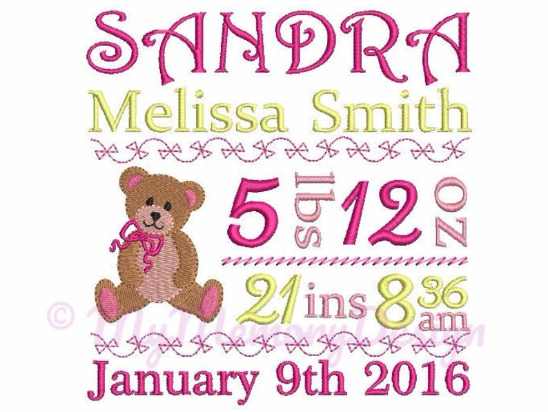 Bear Embroidery design  Custom Personalized Baby Birth image 0