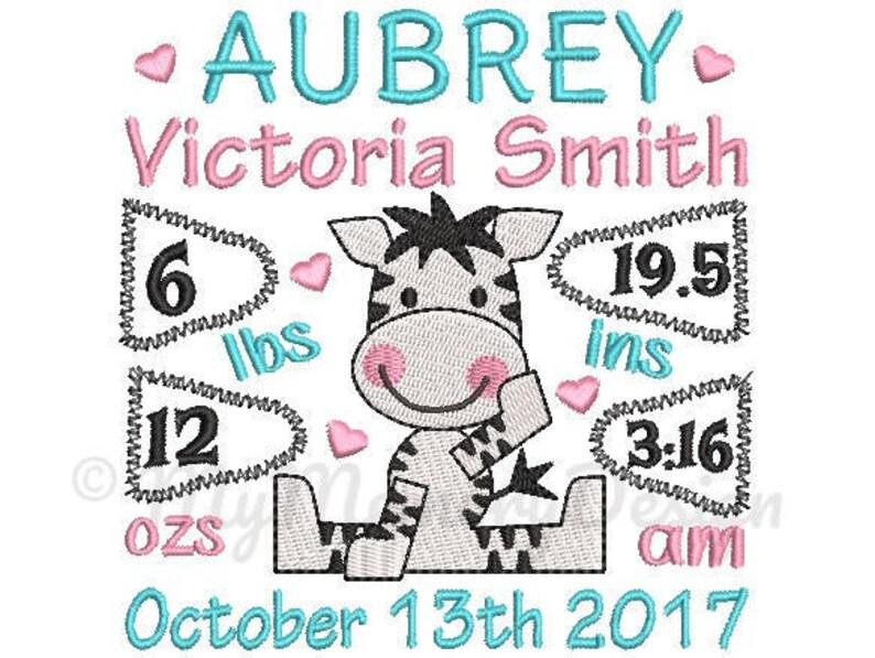 Zebra Personalized Birth Announcement Machine Embroidery image 0