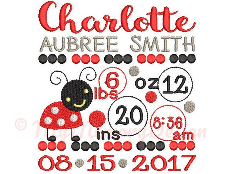 Ladybug Birth announcement embroidery design  Birth template image 0
