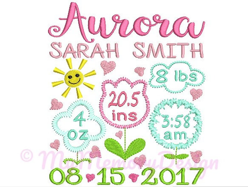 Flower Birth Announcement Embroidery Design  Baby Girl Subway image 0
