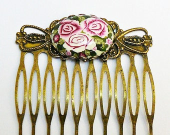 Retro comb three roses in polymer clay and brass