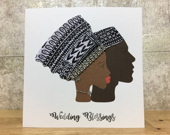 black wedding card in african fabric african wedding card african greeting cards couples card african card uk free shipping