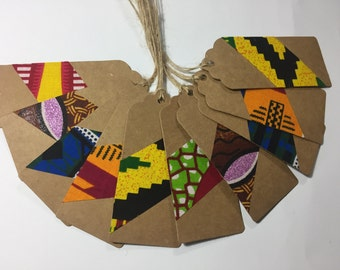 Gift tags, 10  African fabric gift tags, african gift tags, ankara gift tags, holiday tags, gift wrap, gift wrapping