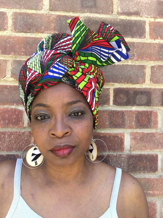 African Print head wrap//Scarf //Ankara wrap golden yellow and red