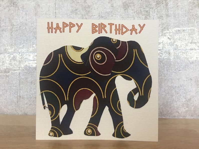 0f96faf880b0 Elephant card in Circular pattern African print fabric