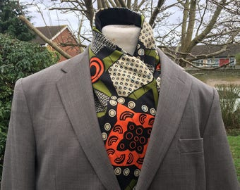 Men's short African scarf, African ascot scarf, African print scarf, short scarf, men's ankara scarf, mens African scarf, Gift for him