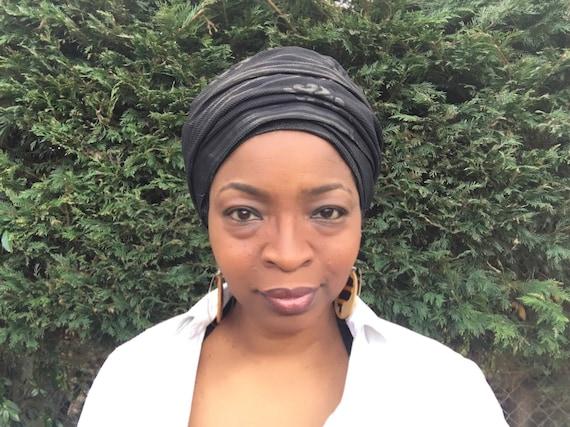 Black head wrap African print head scarf African head wrap  f879141f061