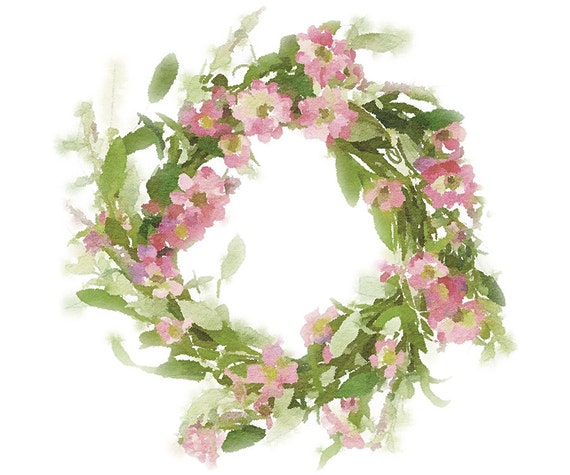 Floral wreath clipart pretty pink flower wreath watercolor etsy image 0 mightylinksfo