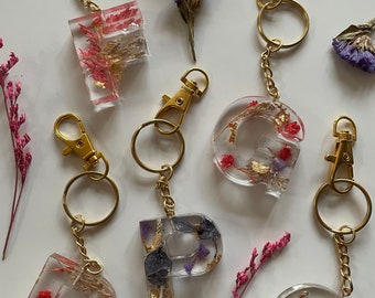 Personalised pretty handmade keyring, initial of your choice - complete with a gold colour keyring
