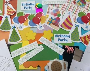 Children's Birthday Party Invitation Kit - makes 6 invitations