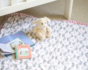 Pink bunny quilted play mat